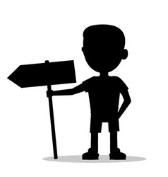 silhouette of a boy with a sign vector image