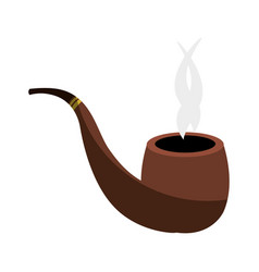 wooden pipe isolated icon vector image vector image