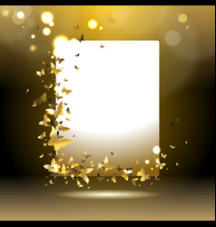 banner with golden butterflies vector image vector image