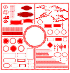 big set collection of chinese style traditional vector image