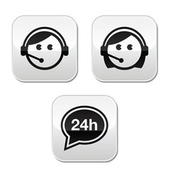 Customer service agents buttons set vector image