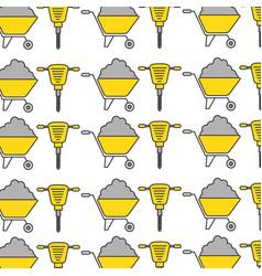 hydraulic hammer and wheelbarrow pattern vector image