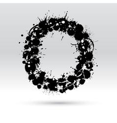 Letter O formed by inkblots vector image vector image