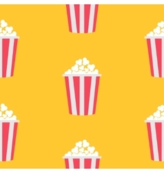 Seamless Pattern Popcorn Cinema icon Yellow vector image vector image