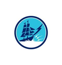 Tall Sailing Ship Lightning Bolt Circle vector image vector image