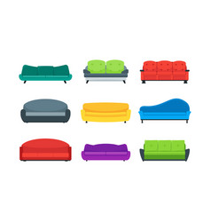 cartoon sofa or couch color icons set vector image vector image
