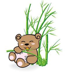 Cute bear in bamboo forrest 02 vector