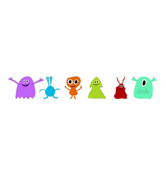 cute cartoon monsters set vector image
