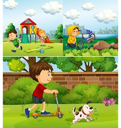 People doing different things in the park vector image