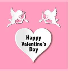 valentines day cards with ornaments hearts angel vector image vector image
