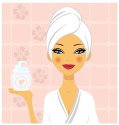 Beautiful woman holding cream vector image