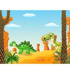 Cartoon stegosaurus with tyrannosaurus vector image
