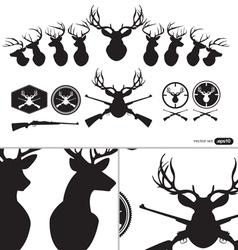 Deer hunter heads set vector