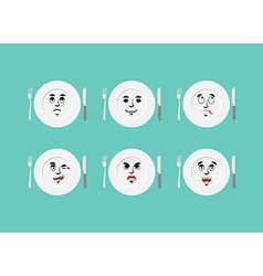 Emotions plate Set expressions cutlery Good and vector image vector image
