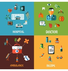 Flat medical concept designs vector image vector image