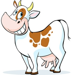 funny cow cartoon standing isolated on white vector image vector image