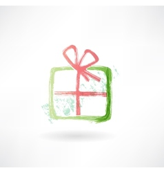 gift grunge icon vector image vector image