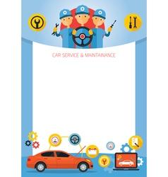 Mechanic and Car Maintenance Service Frame vector image
