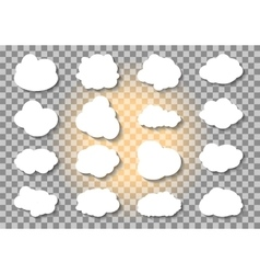 Set of different Cloud and Sun on transparent vector image