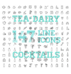 147 drinks thin icon set vector image