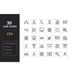 30 ceo line icons vector