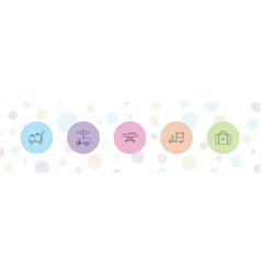 5 trolley icons vector
