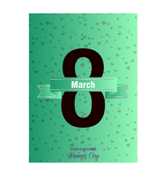 8 march happy womens day greeting card on red vector