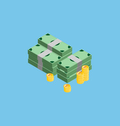 a lot of money coins and banknotes on the color vector image