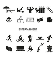 a set icons for recreation and entertainment vector image