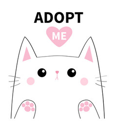 Adopt me white contour cat face silhouette pink vector