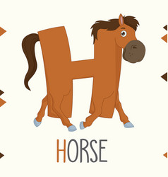 alphabet letter h and horse vector image