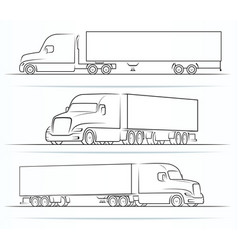 American truck silhouettes outlines contours vector