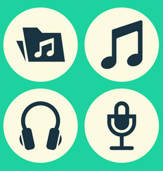 Audio icons set collection of mike music vector