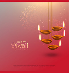 Awesome diwali hanging lamps festival background vector