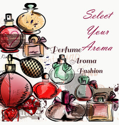 Background with perfumes drawn in watercolor vector