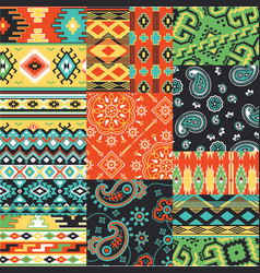 Bandanna kerchief fabric patchwork vector