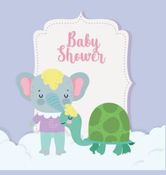 bashower cute elephant and turtle cartoon vector image