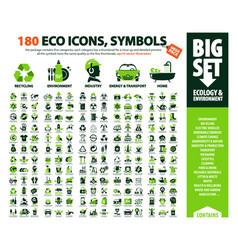 Big set 180 eco icons vector