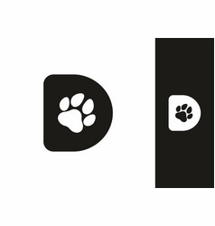 Black d initial letter with animal paw shape vector