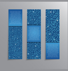 Blue sequins banners card brochure probe vector