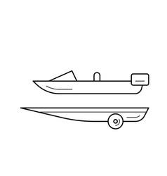 Boat trailer line icon vector