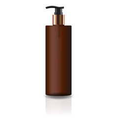 brown cosmetic cylinder bottle with pump head vector image