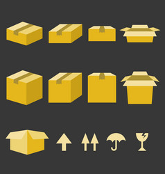 Brown paper box with flat style vector