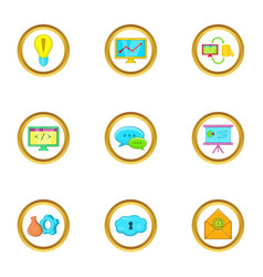 Business idea icons set cartoon style vector