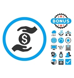 Business Insurance Hands Flat Icon with vector image
