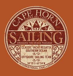 cape horn sailing regatta nautical badge vector image