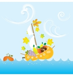 Cartoon Autumn Fall Colorful Fruit Boat Sea Leaves vector image