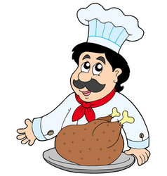 cartoon chef with roasted meat vector image