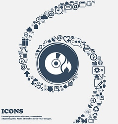 CD icon in the center Around the many beautiful vector