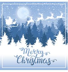 Christmas background santa claus on a sled vector